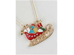 Metal Sleigh & Gifts Pendant Christmas Necklace
