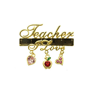 Teacher I Love Pin and Brooch with Crystal Stone Charms