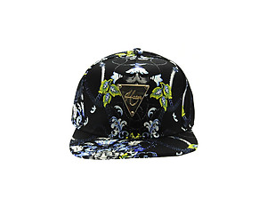 Black Fabric Floral Chain Adjustable Snapback Hat Cap for Men and Women