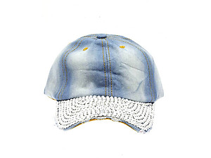 Fabric Studded Denim Adjustable Hat Cap