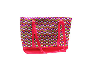 Faux Leather and Fabric Chevron Tote Multi Use Bag