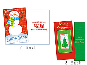 Extra Merry Christmas ~ 9 Pack Holiday Greeting Cards
