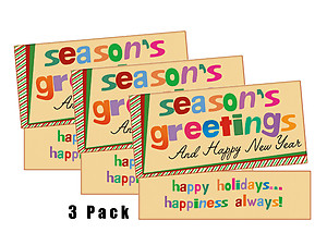 Happiness Always ~ 3 Pack ~ Christmas Holiday Gift Card or Money Holder