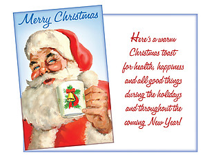A Warm Christmas Toast ~ 6 Pack Holiday Greeting Cards