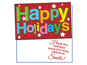 Happy Holidays Stars ~ 6 Pack Holiday Greeting Cards