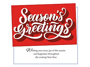 Red Seasons Greetings ~ 6 Pack Holiday Greeting Cards