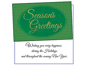 Green Seasons Greetings ~ 6 Pack Holiday Greeting Cards