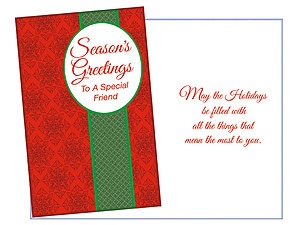 Season's Greetings To A Special Friend ~ 6 Pack Holiday Greeting Cards