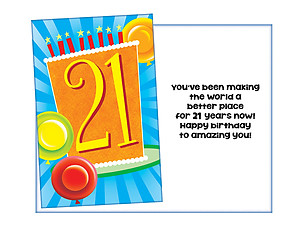 A Better Place For 21 Years ~ Happy Birthday Card