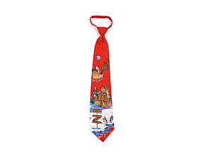 Men's ~ Boy's Red North Pole Poly Zipper Christmas Tie