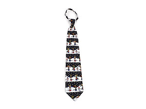 Men's ~ Boy's Black Reindeer Poly Zipper Christmas Tie