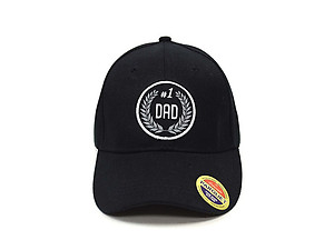 #1 Dad Black Embroidered Baseball Hat Cap w/ Adjustable Velcro Closure