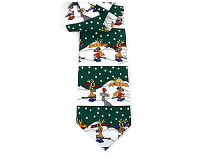 Boy's Green Reindeer 100% Polyester Christmas Tie