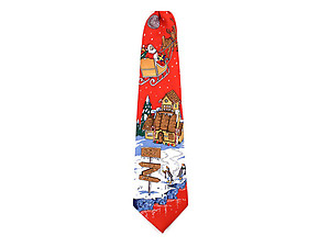 Boy's Red North Pole 100% Polyester Christmas Tie
