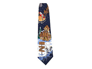 Boy's Navy North Pole 100% Polyester Christmas Tie