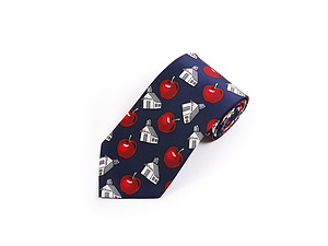Men's School House & Apple Polyester Printed Novelty Tie