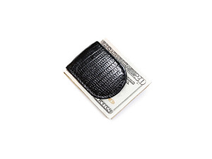 Crocodile Print Leather Magnetic Money Clip