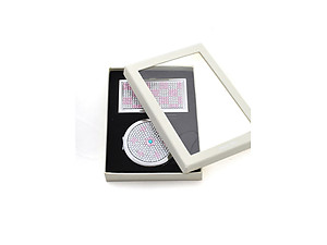 Pink Checker Rhinestone Accented Matching Mirror & Card Case Set