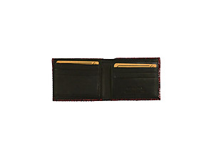 Burgundy Gift Boxed Men's Handcrafted Genuine Leather Bifold Wallet