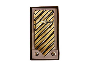 Mens Fashion Necktie, Hanky, Cufflinks, & Tie Bar Boxed Combo Set ~ Style 7742