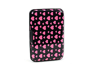Pink Heart Aluminum Wallet Credit Card Holder With RFID Protection