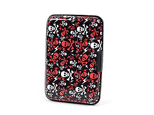 Red & White Skull Aluminum Wallet Credit Card Holder With RFID Protection