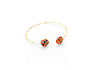 Crystal Enamel Basketball Ball Tip Cuff Bracelet