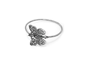 Silver Burnished Filigree Cut Out Metal Butterfly Hook Bracelet