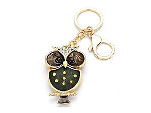 Spiked Goldtone Owl Rhinestone Accented Keychain