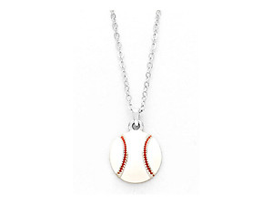 Playful Enamel White Baseball Necklace