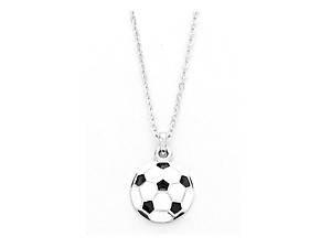 Playful Enamel White Soccer Ball Necklace