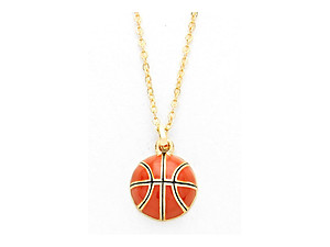 Playful Enamel Brown Basketball Necklace