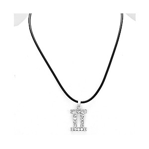 Gemini Crystal Pave Zodiac Pendant Necklace