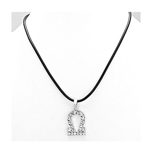 Libra Crystal Pave Zodiac Pendant Necklace