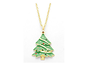 Enamel Holiday Christmas Tree Pendant Necklace