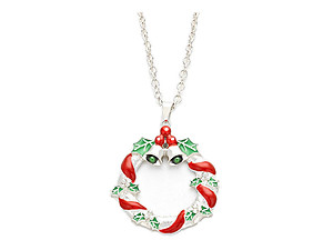Silvertone Enamel Christmas Wreath Pendant Necklace