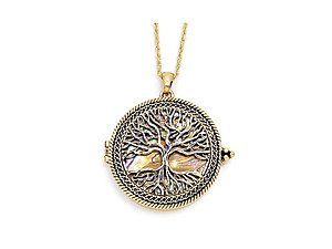 Goldtone Tree of Life Magnifying Glass Pendant Necklace