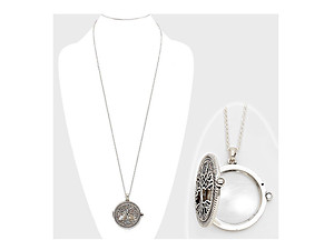 Silvertone Tree of Life Magnifying Glass Pendant Necklace