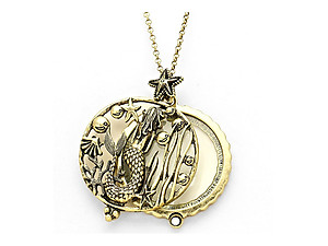 Goldtone Mermaid Disk Magnifying Glass Pendant Necklace