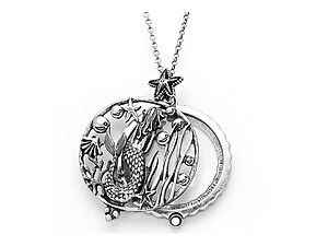 Silvertone Mermaid Disk Magnifying Glass Pendant Necklace