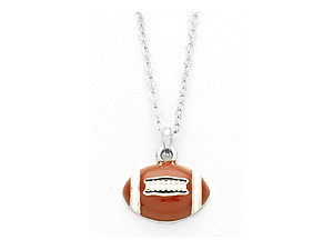 Playful Enamel Brown Football Necklace