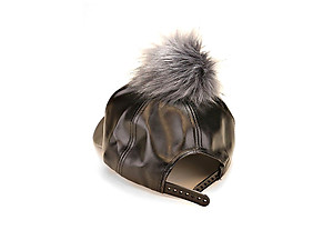 Black & Grey Faux Leather Pom Pom Baseball Hat Cap w/ Snapback Closure