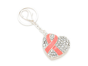 Crystal Pave Pink Ribbon Symbol Heart Keychain