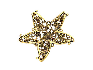 Goldtone Rhinestone Christmas Holiday Star Brooch