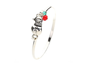 Snowman Crystal Beaded Charm Bangle Bracelet