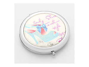Adoring Blue Bow Mule Folding Makeup Round Compact Mirror