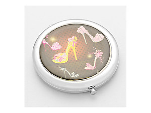 Let Your Light Shine Flower Shoes Folding Makeup Round Compact Mirror