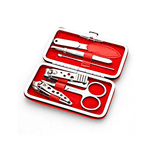 Red w Red Lining 6-Pcs Manicure Pedicure Groomong Kit