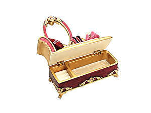 Burgundy Victorian Mirror Vanity Jewelry Box Ring Organizer