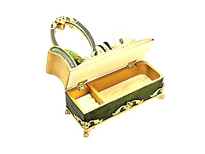 Green Victorian Mirror Vanity Jewelry Box Ring Organizer
